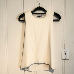 Olivaceous Leather Tank Raw Edged with Jersey Back